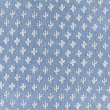 Tissu Jeans chambray Cactus - blanc x 10cm