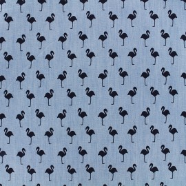 Fluid jeans fabric Flamingo - navy x 10cm