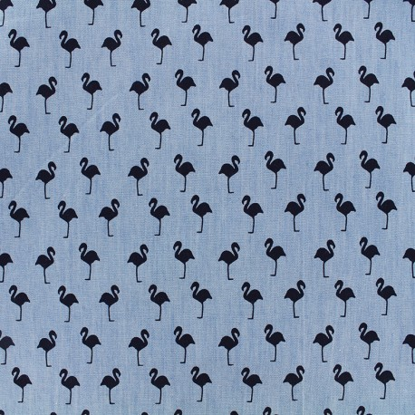 Chambray jeans fabric Flamingo - navy x 10cm