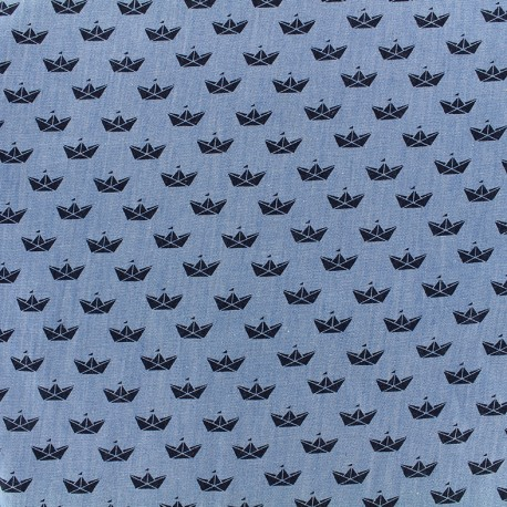 Chambray jeans fabric Origami - navy x 10cm