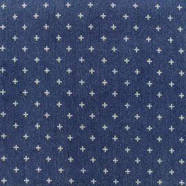 Tissu jeans Cross - bleu foncé x 10cm