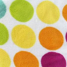 Tissu Doudou Rainbow dot - blanc x 10cm