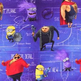 ♥ Coupon de tissu 345 cm X 145 cm ♥ Tissu jersey Moi, moche et méchant - violet