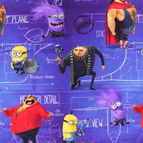 Jersey fabric Moi, moche et méchant - purple x 23cm