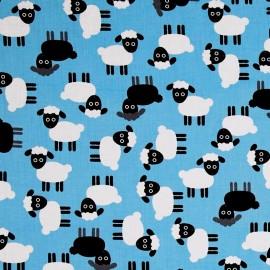 Cotton fabric Urban zoologie Shhep - blue x 30cm