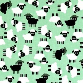Tissu coton Urban zoologie Sheep - mint x 30cm