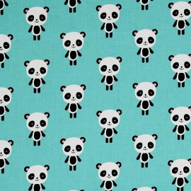 Tissu coton Urban zoologie Panda - aqua x 15cm