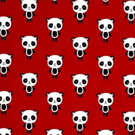 Cotton fabric Urban zoologie Panda - red x 15cm