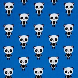 Tissu coton Urban zoologie Panda - blue x 15cm