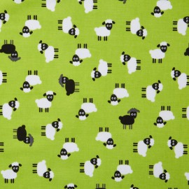 Tissu coton Urban zoologie minis Sheep - green x 20cm