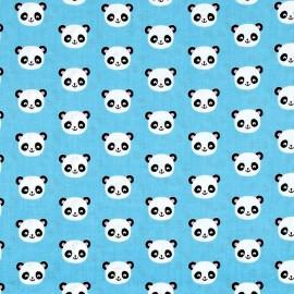 Tissu coton Urban zoologie minis Panda - blue x 10cm