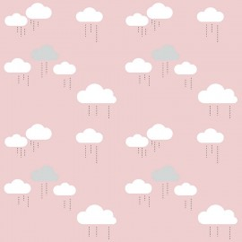 Tissu coton When Skies Are Grey Cloud - pink x 15cm