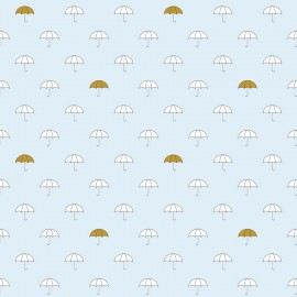 Tissu coton When Skies Are Grey Umbrella - blue x 15cm