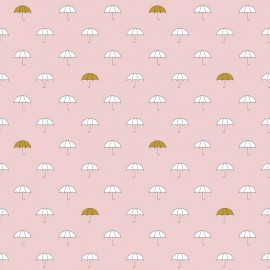 Tissu coton When Skies Are Grey Umbrella - pink x 15cm