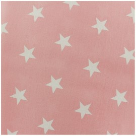 Cotton Fabric Etoiles - white/pink light x 10cm