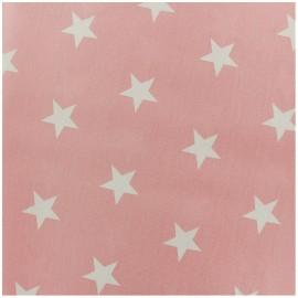 Tissu coton Grandes Etoiles - rose clair x 10cm