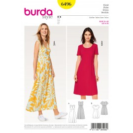 Dress High Waist Wrap Look Burda Sewing Pattern N°6496