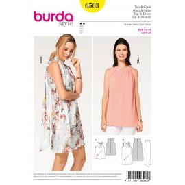 Patron Top robe plis obliques écharpe Burda N°6503