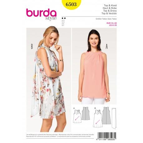Patron Femme Top robe plis obliques écharpe Burda N°6503