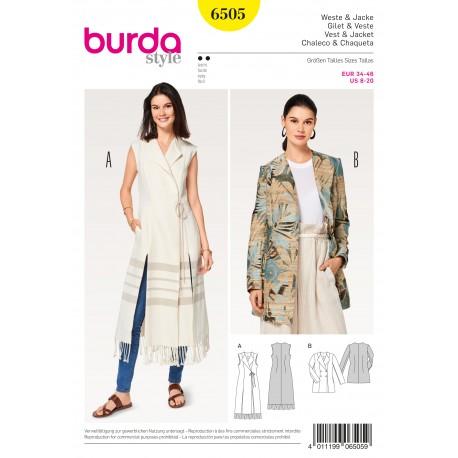 Vest/Waistcoat Jacket Blazer Double Breasted Burda Sewing Pattern N°6505
