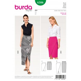 Narrow Skirt Wrap LookShaped Waistband Burda Sewing Pattern N°6506