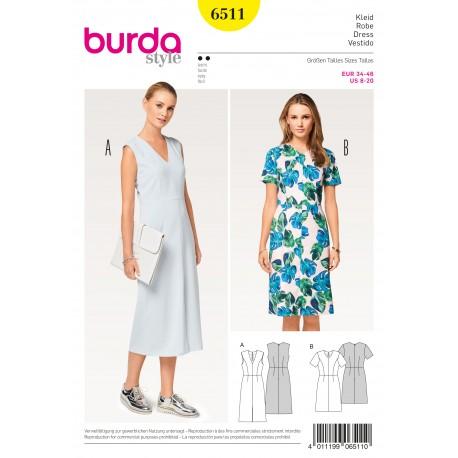 Dress V-Neck 4-Panel Skirt Burda Sewing Pattern N°6511