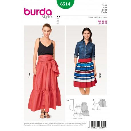 Skirt with Yoke– Tiered Skirt Tie Band  Burda Sewing Pattern N°6514