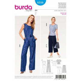 Jumpsuit Top Pants/Trousers Burda Sewing Pattern N°6516