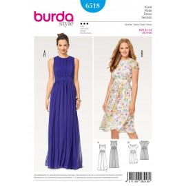 Patron robe du soir double épaisseur parement de taille Burda N°6518