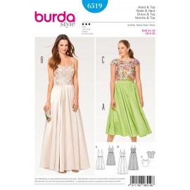 Patron Femme Robe à bretelles top en dentelle Burda N°6519