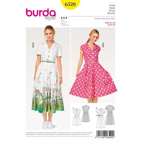 Dress Shirt Blouse Style Pleated Skirt Burda Sewing Pattern N°6520