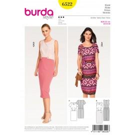 Patron robe étui parement en forme Burda N°6522