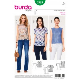 Patron Top blouse coutures de découpe Burda N°6525