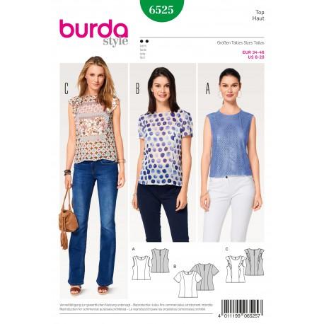 Patron Femme Top blouse coutures de découpe Burda N°6525