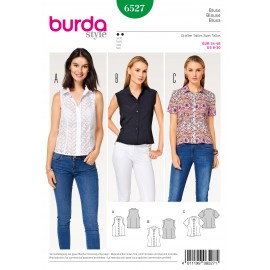Blouse Shirt Collar Stand Collar Sleeve Bands Burda Sewing Pattern N°6527