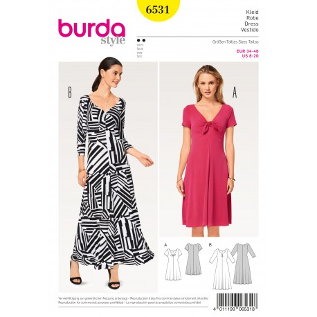 Dress Shirt Dress Jersey Dress Burda Sewing Pattern N°6531