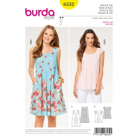 Patron Femme Robe fluide top empiècement Burda N°6532