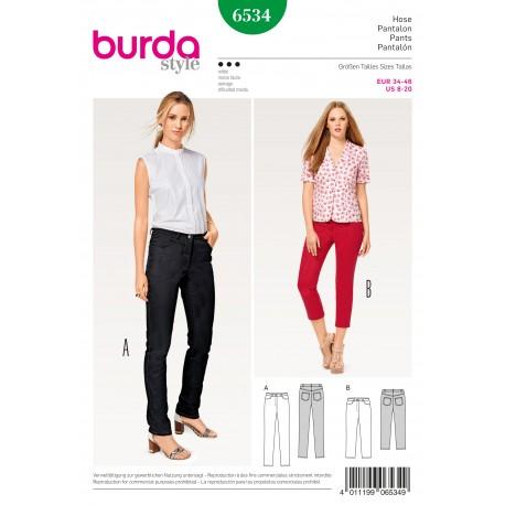 Patron Femme Pantalon jean pantalon 3/4 Burda N°6534