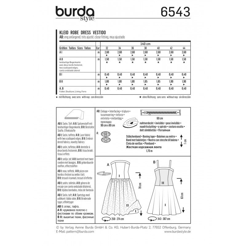 patron burda 2017 patron robes de cocktail robe bustier robe bretelles burda n 6535 ma. Black Bedroom Furniture Sets. Home Design Ideas