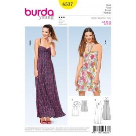 Patron robe à bretelle dos nu bretelles spaghetti Burda N°6537