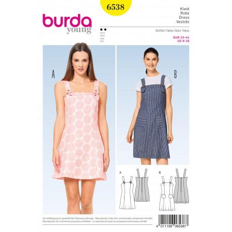 DressStrap Dress Panel Seams Burda Sewing Pattern N°6538