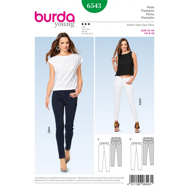 Skinny Pants/Trousers Jeans Burda Sewing Pattern N°6543 - Ma Petite ...