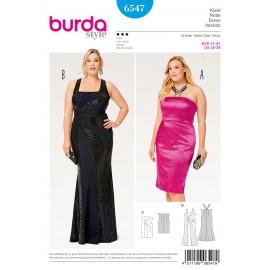 Patron Robe de cocktail robe de soirée robe à bretelles Burda N°6547