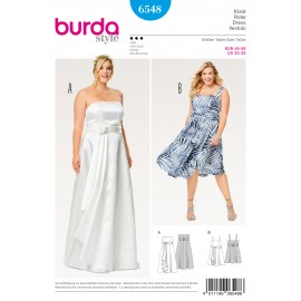 Bodice Dress Strap Dress Wedding Gown Full Skirt Wrap Look Burda Sewing Pattern N°6548