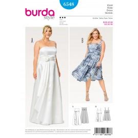 Patron Robe à corsage robe à bretelles robe de mariée jupe ample effet croisé Burda N°6548