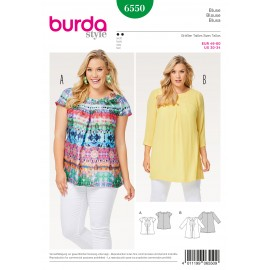 Blouse Neckline Band Pleats Burda Sewing Pattern N°6550