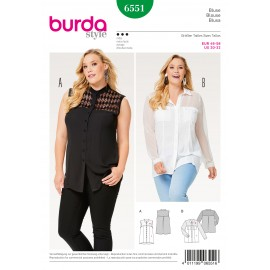 Blouse Shirt Blouse Stand Collar Collar with Collarband  Burda Sewing Pattern N°6551