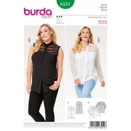 Patron Blouse chemise col droit col avec pied de col Burda N°6551