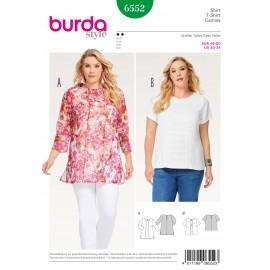 Patron T-shirt blouse combinaison d'étoffes pose de passepoil Burda N°6552