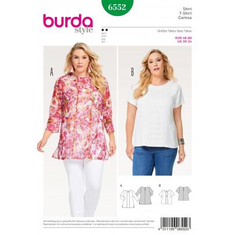 Patron Femme T-shirt blouse combinaison d'étoffes pose de passepoil Burda N°6552